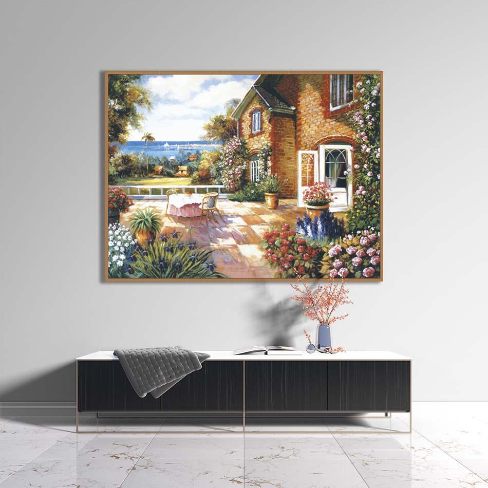 Tranh canvas phong cách sơn dầu - Phong cảnh Trước sân - PC010
