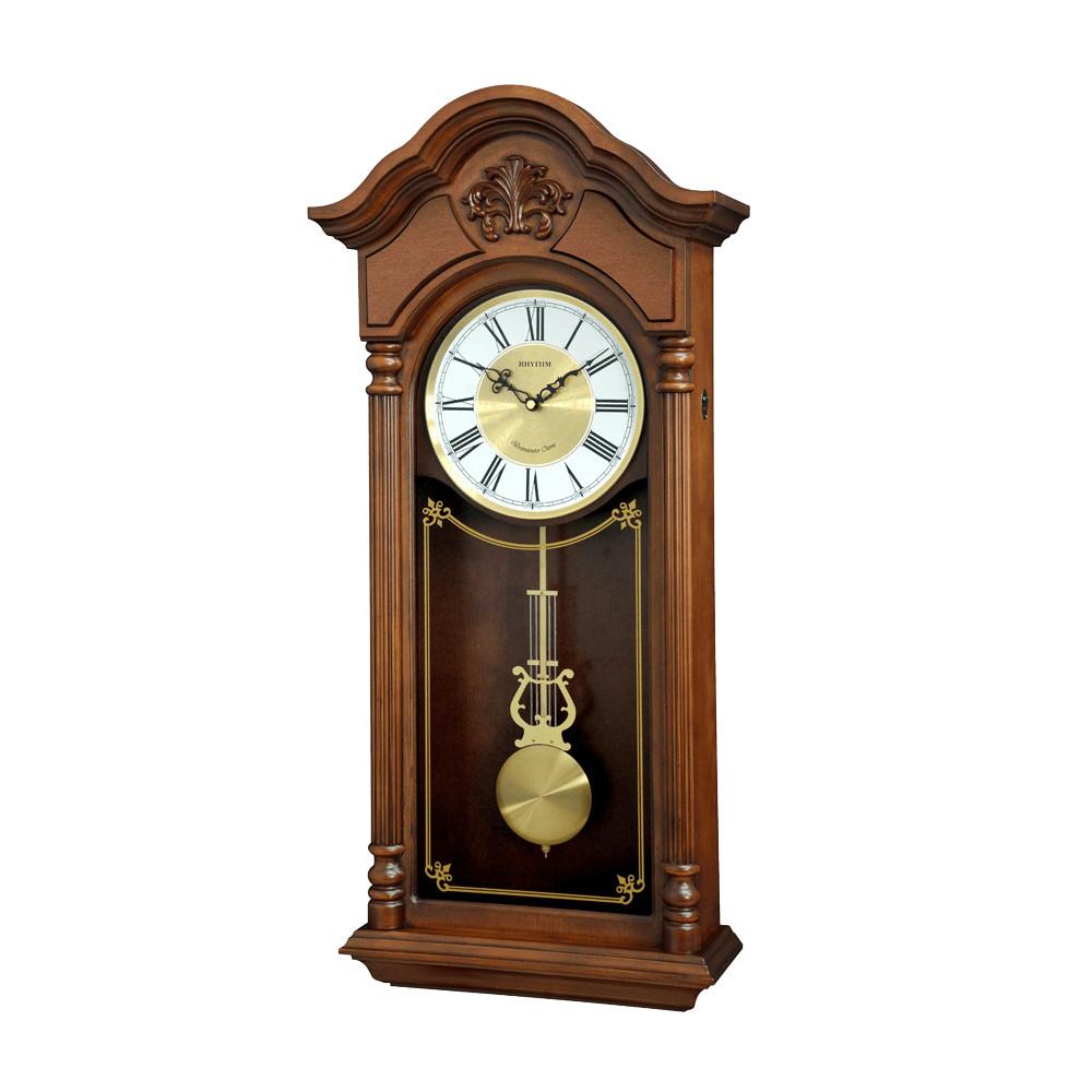 Đồng hồ treo tường RHYTHM SIP (Sound In Place) Wall Clocks CMJ584NR06 (Kích thước 32.0 x 69.2 x 13.6cm), Vỏ màu Nâu