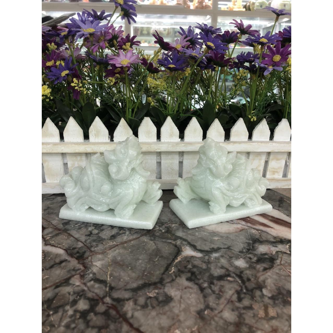 Cặp Tỳ Hưu phong thủy đá cẩm thạch trắng xanh - Dài 11 cm