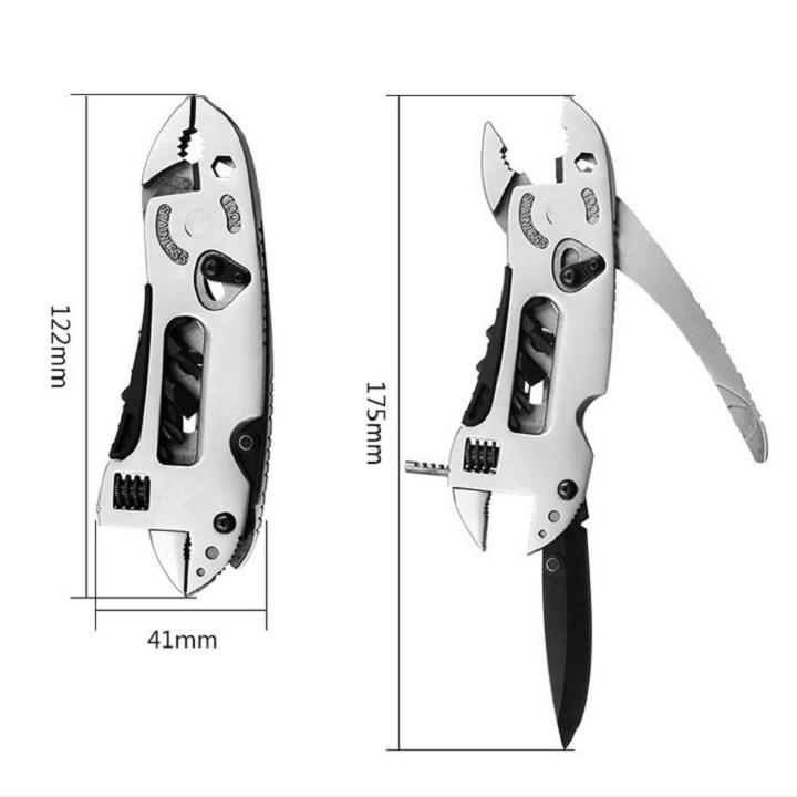 Bộ dụng cụ đa năng đi phượt 4 trong 1, Kềm kết hợp cờ lê, mỏ lết kèm tuốc nơ vít, dụng cụ cắt thái đa năng cho dân phượt