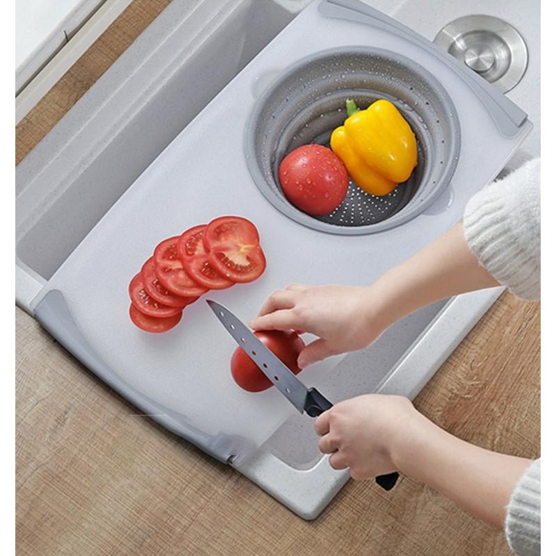 Thớt rổ nhựa đa năng gác bồn rửa chén 2 trong 1 siêu tiện lợi