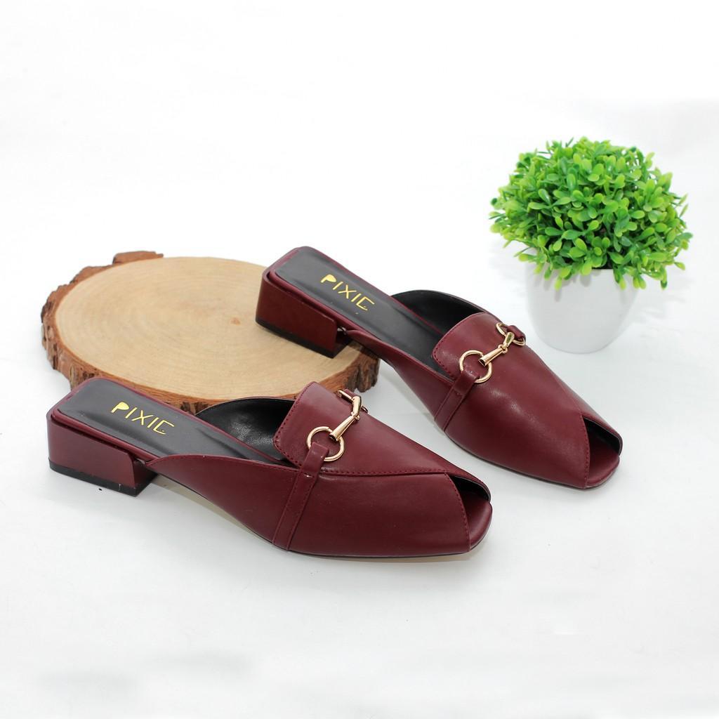 Giày Sục Cao Gót 3cm Đế Vuông Gắn Khóa Pixie X549