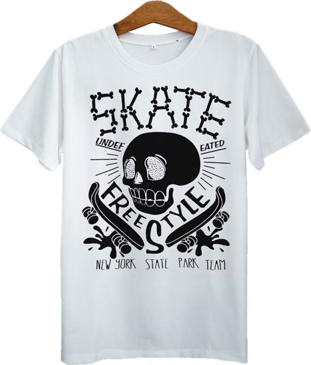 Áo Thun Unisex In Đầu Lâu Trắng Skate Nền Xanh ASAT011 - Trắng Size S