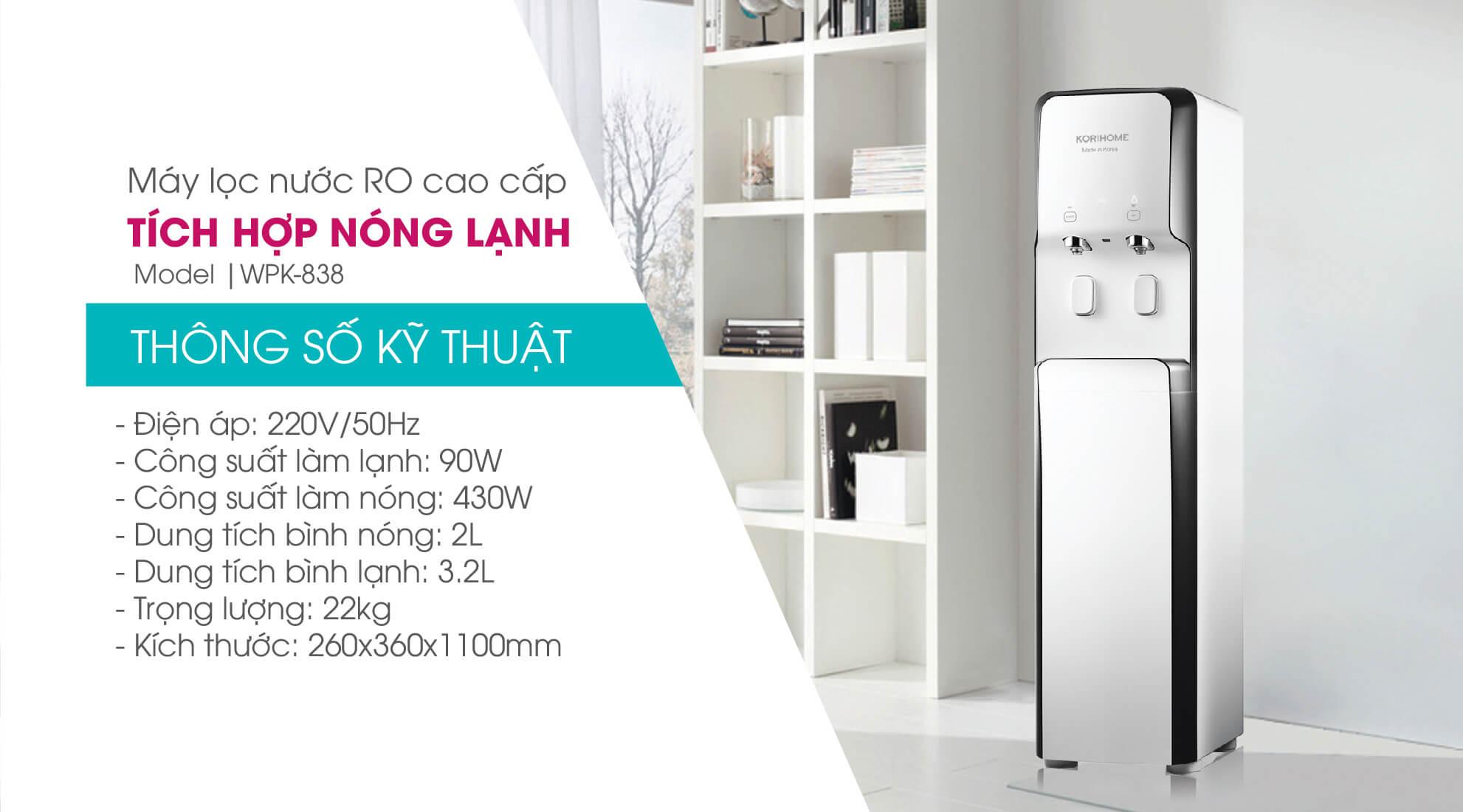 Máy lọc nước tích hợp nóng lạnh Korihome Series 9 [WPK-938] ( Tặng Nồi cơm điện Cuckoo CR-0655F 1.08L)