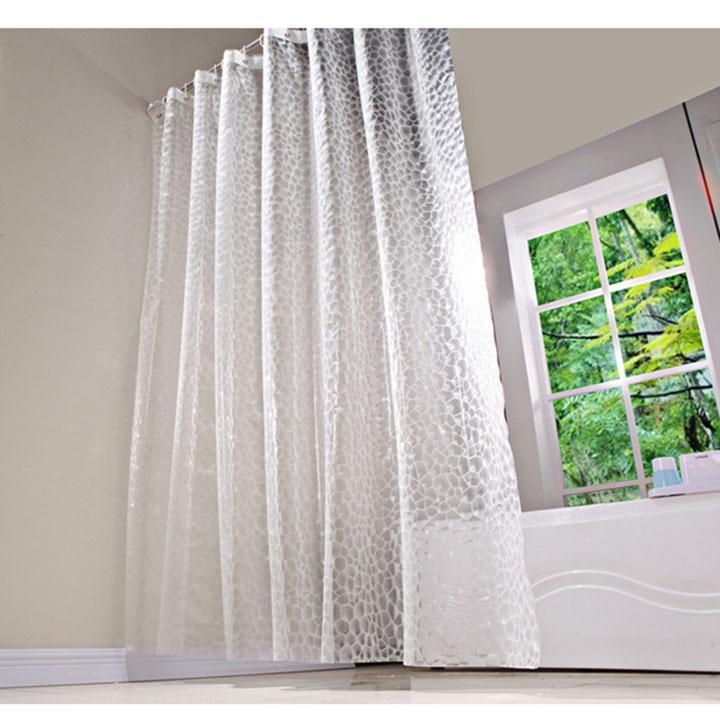 Rèm chống thấm cao cấp dành cho phòng tắm, màu trắng trong, kèm theo móc, kích thước 180x180cm HT715