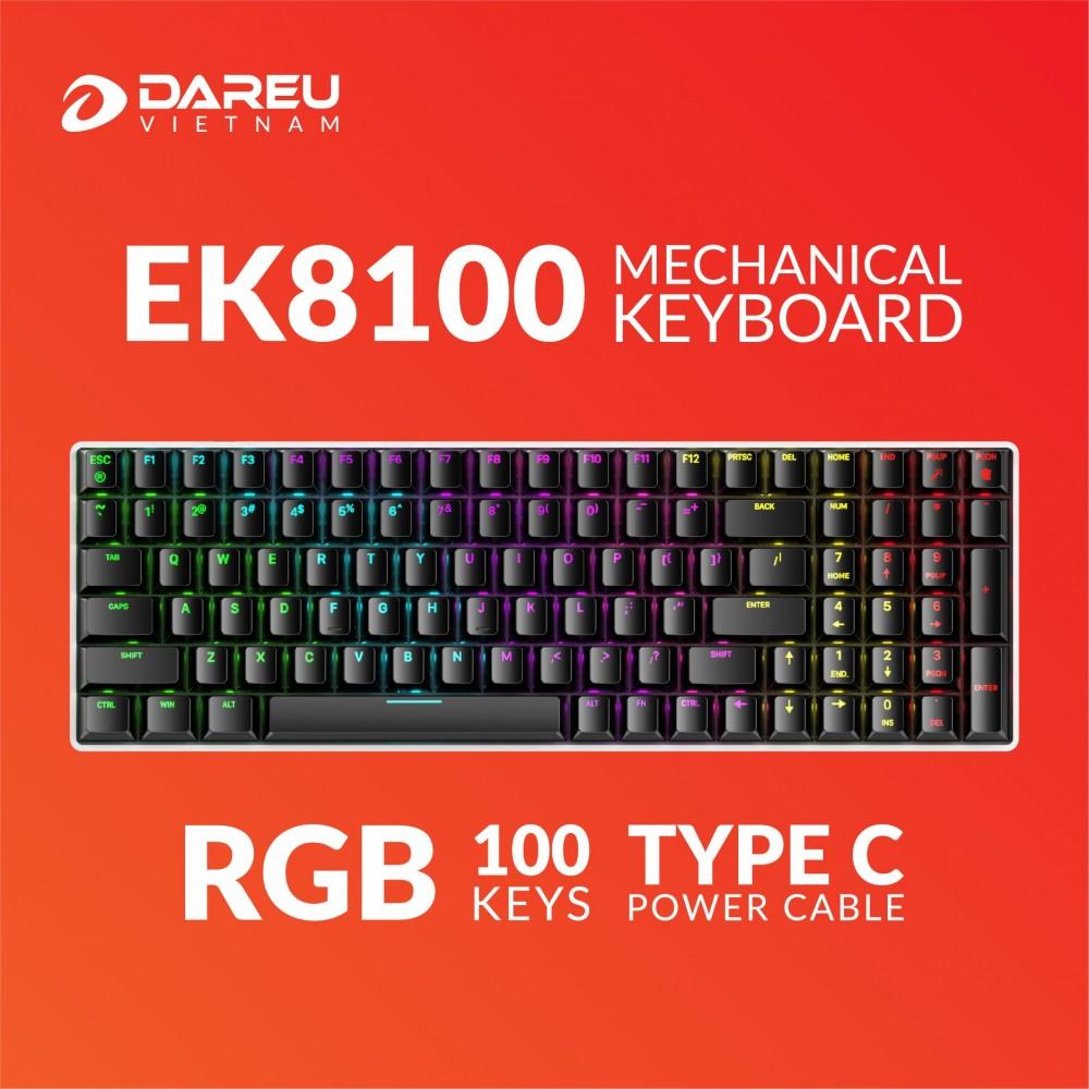 Bàn phím cơ Gaming DAREU EK8100 100KEY (RGB, Blue/ Brown/ Red D switch) - Hàng chính hãng