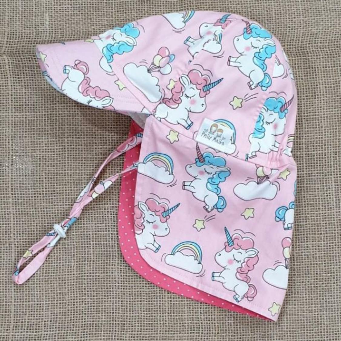 Mũ che gáy, mũ lưỡi trai có gáy hình pony (unicorn) màu hồng chống nắng, đi biển, dã ngoại cho bé từ 1-12 tuổi