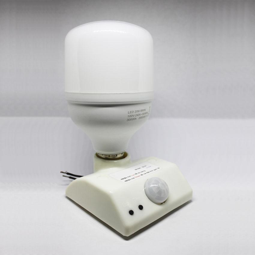 COMBO ĐUÔI ĐÈN CẢM ỨNG HỒNG NGOẠI SL01 + BÓNG ĐÈN LED ĐUÔI VẶN TRÒN E27 20W-220AC.