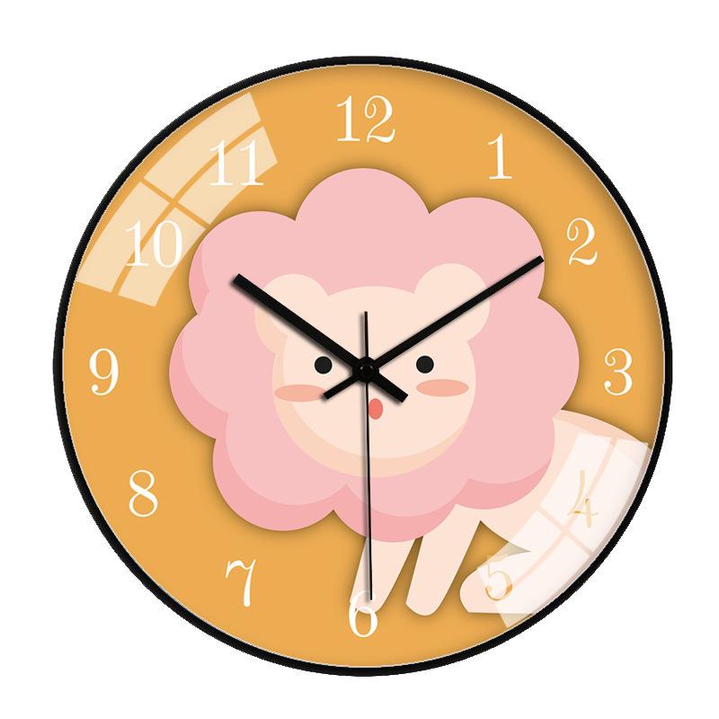 Đồng hồ treo tường tròn sư tử hồng 30cm viền đen