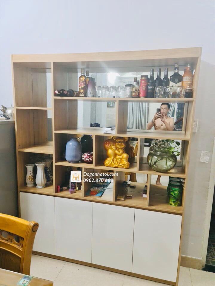 Kệ trưng bày - tủ rượu - vách ngăn phòng khách và bếp TR610- (C2m x N1M8) - Đồ Gỗ Nhà Tôi