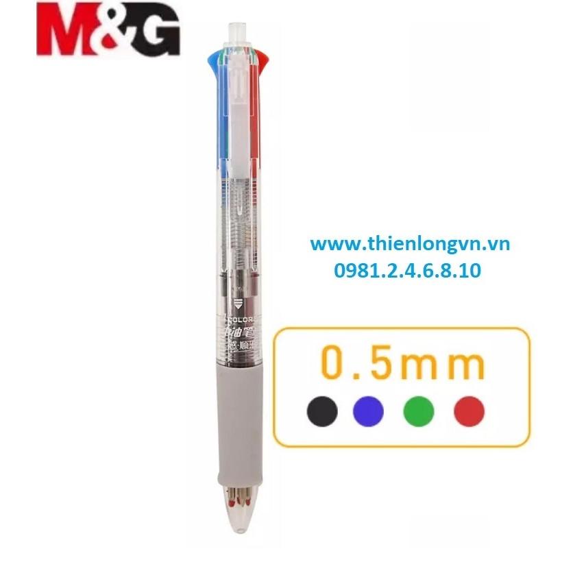 Bút bi dầu 4 màu thân trong M&G - ABP80317