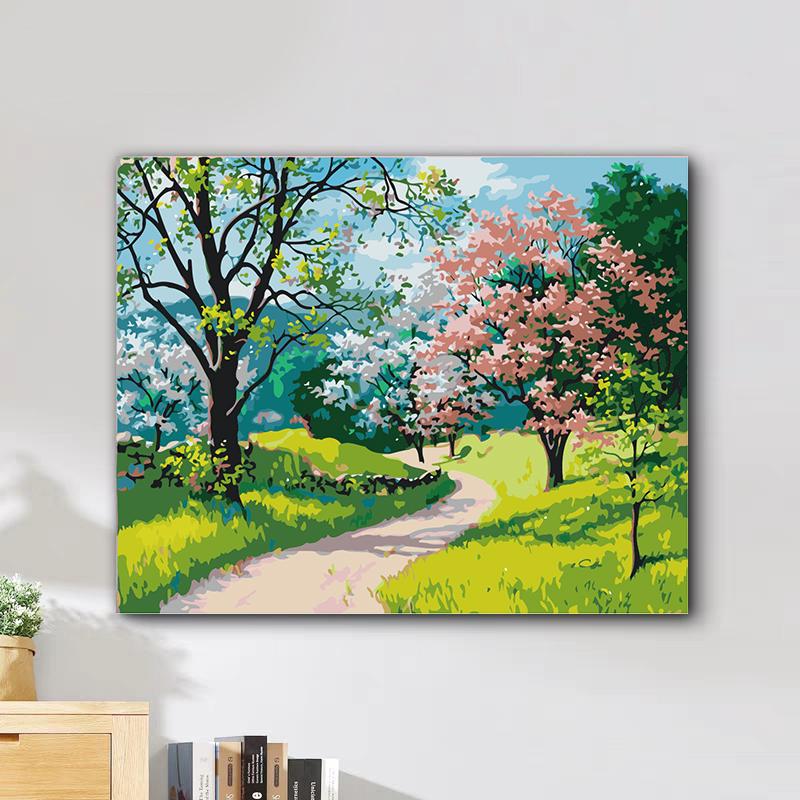Tranh tô màu theo số Con đường mùa xuân 16