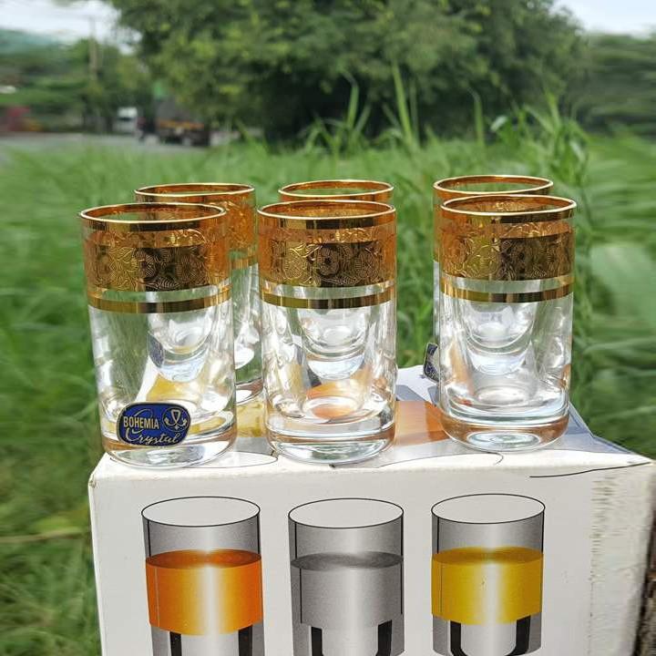 Bộ 6 ly uống rượu mạnh mạ vàng Tiệp Khắc 24k 035 ml