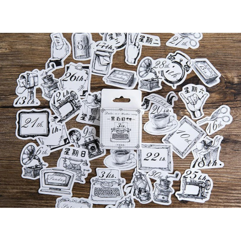 Hộp 45 Miếng Dán Sticker Trang Trí Nhật Ký Trắng Đen