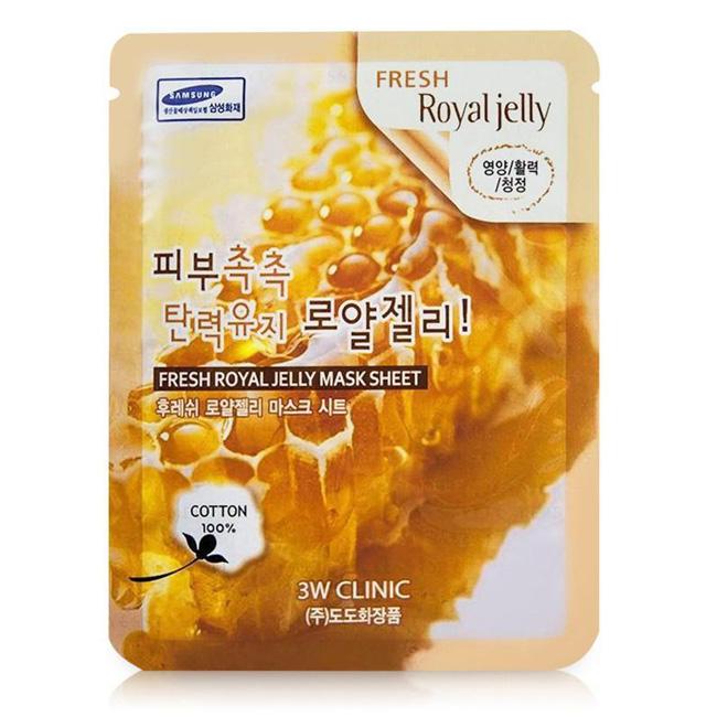 Mặt nạ chiết xuất sữa ong chúa 3W Clinic Fresh Royal Jelly Mask Sheet 23g    Tiki