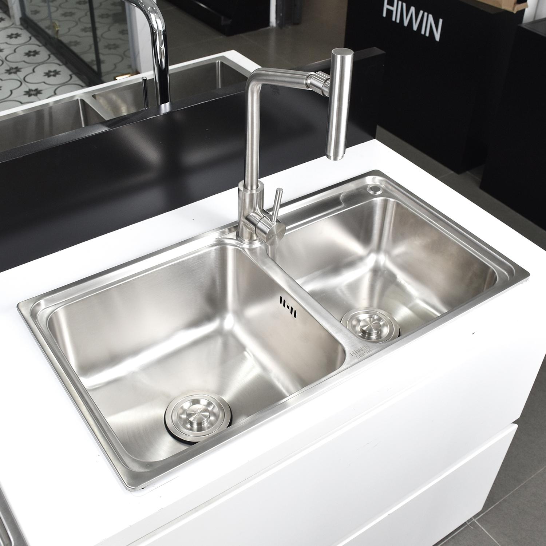 Chậu bếp đa năng hai ngăn dập inox 304 cao cấp mặt mờ Hiwin KS-7540R