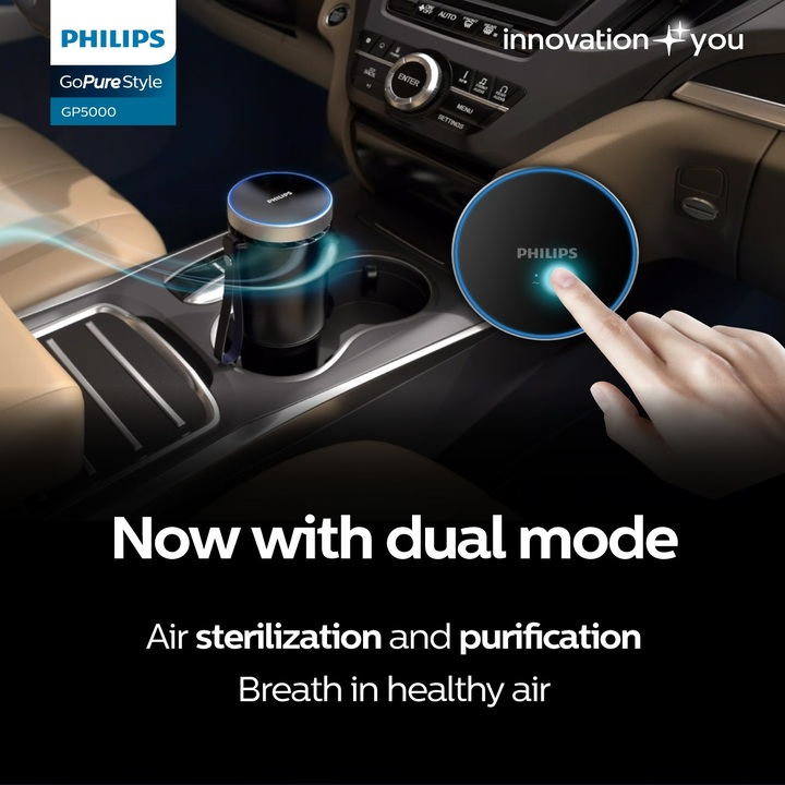 Máy khử mùi, lọc không khí dạng cốc trên xe ô tô cao cấp Philips GP5601 công suất 5,5W tích hợp 5 công nghệ tiên tiến bảo vệ không khí trong xe