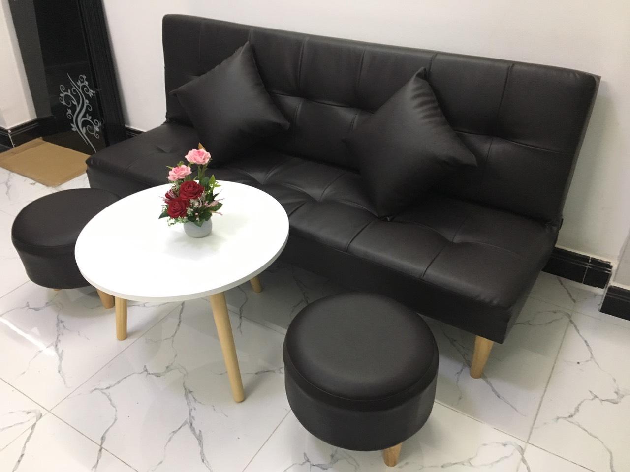 Bộ ghế sofa bed màu đen cả bộ SB14