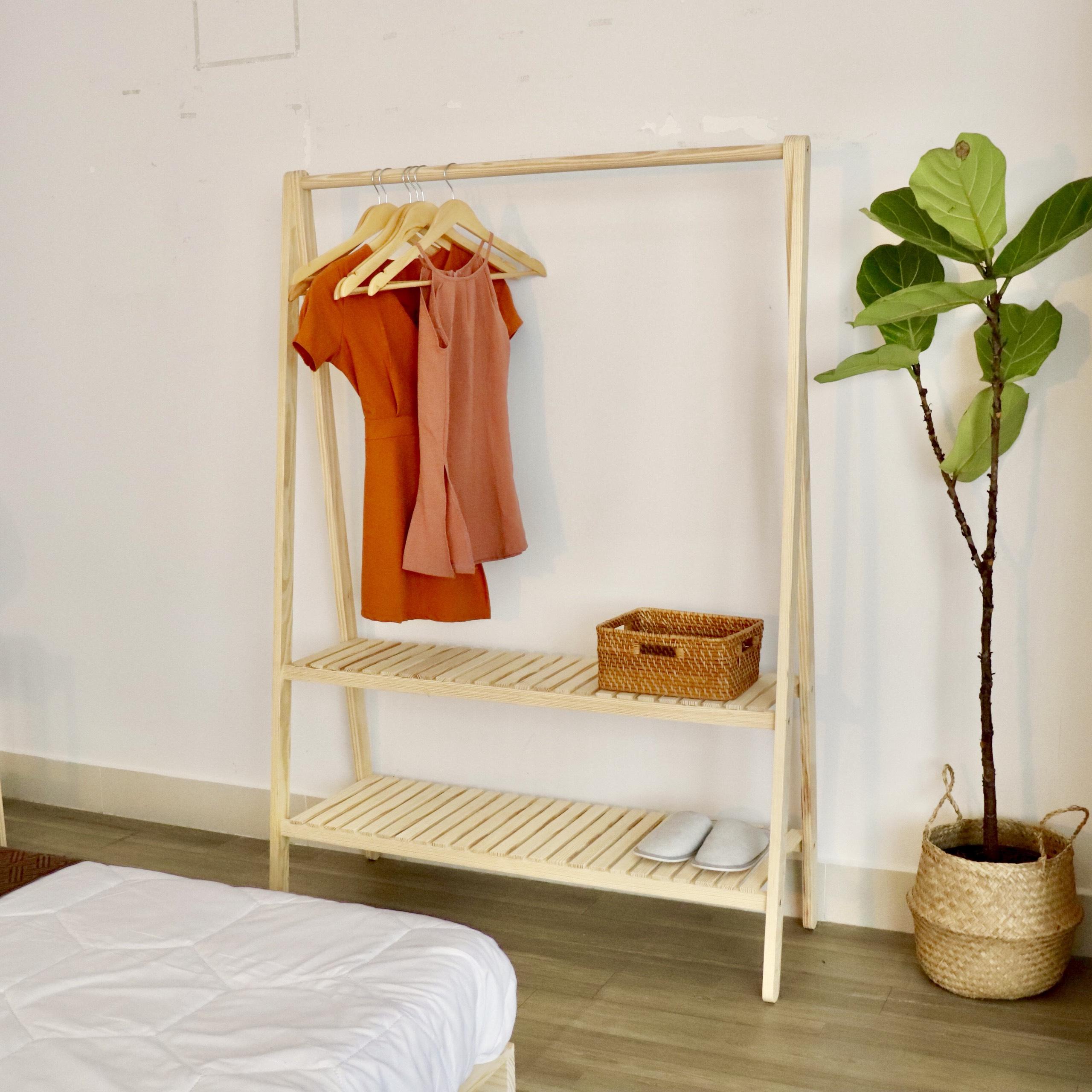 Giá treo quần áo 2 tầng Twin Home size 106 màu tự nhiên