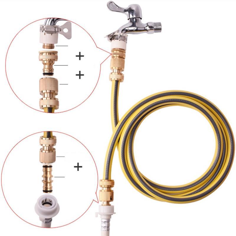 Đầu nối nhanh 16 có đai siết bằng Đồng, Khớp nối nhanh từ vòi nước, Đai siết cổ dê vòi nước, Đai nối vòi nước