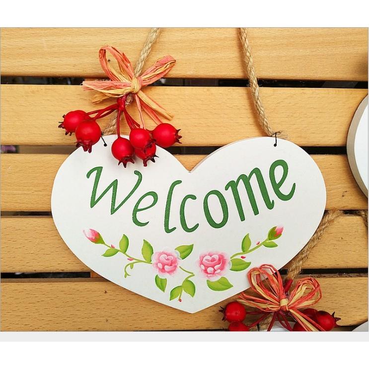 Bảng treo hình trái tim (welcome, toilet, my room)