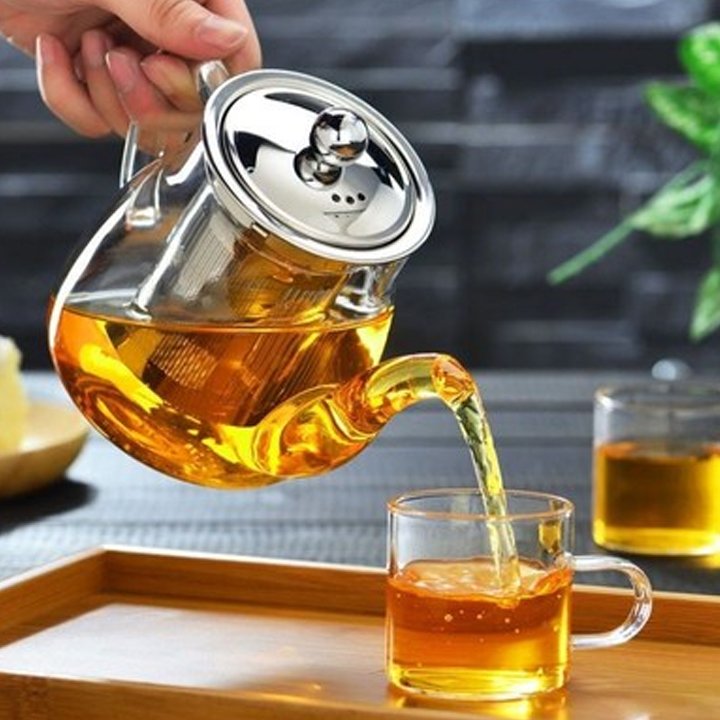 Bộ ấm chén pha trà thủy tinh lõi lọc inox tinh tế - Hàng chính hãng