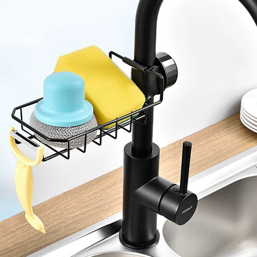 Giá inox đựng lưới rửa bát, cọ xoong, bàn chải, xà bông treo vòi nước bồn rửa bát