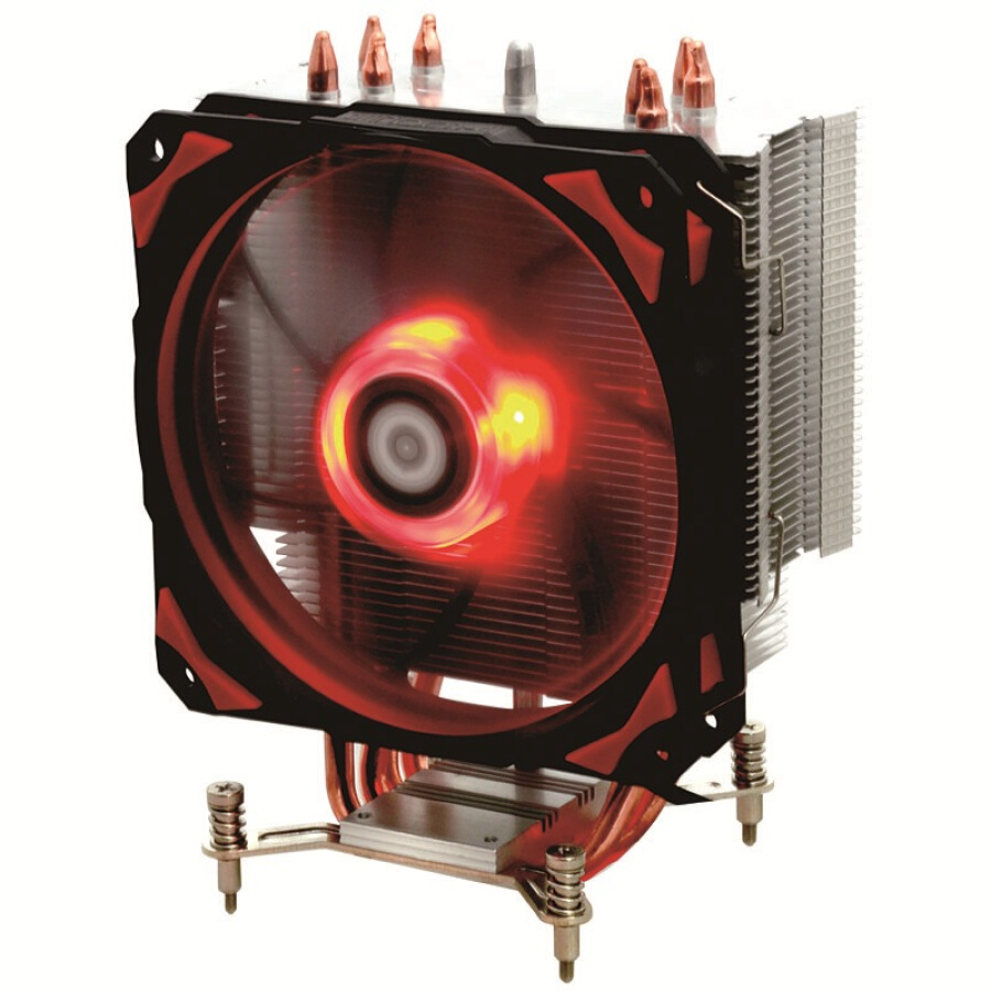 ID-COOLING SE-214pro red and black version of the reinforced tower side blowing CPU heat sink four heat pipe 12cm temperature control quiet damping red light fan