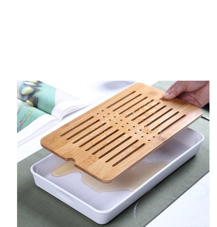 Khay trà bàn trà gỗ có mâm hứng nước tiện lợi tinh tế nhiều kích thước TTU75398- Tặng Khăn rằn san hô thấm hút 2 mặt dày nhung TT908