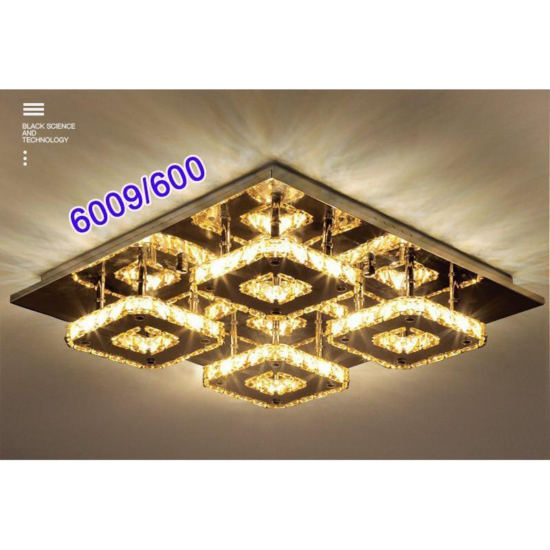 Đèn Ốp Trần Pha Lê-Đèn Mâm Ốp Trần Phòng Khách-Đèn Mâm Vuông Mã 6009/600