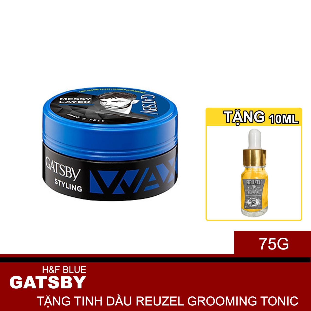 Wax Tạo Kiểu Tóc  Messy Layer Phong Cách Lãng Tử Hard & Free + Tặng Reuzel Grooming Tonic - Chính hãng - GATSBY STYLING WAX 75G