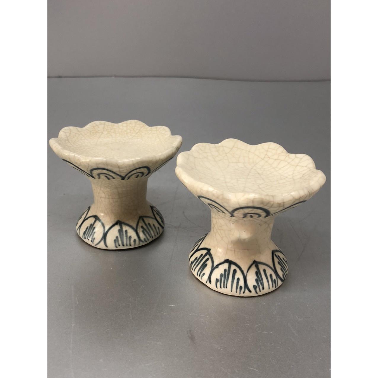 Đôi chân nến bằng gốm men rạn (tặng kèm 2 chiếc nến bơ)