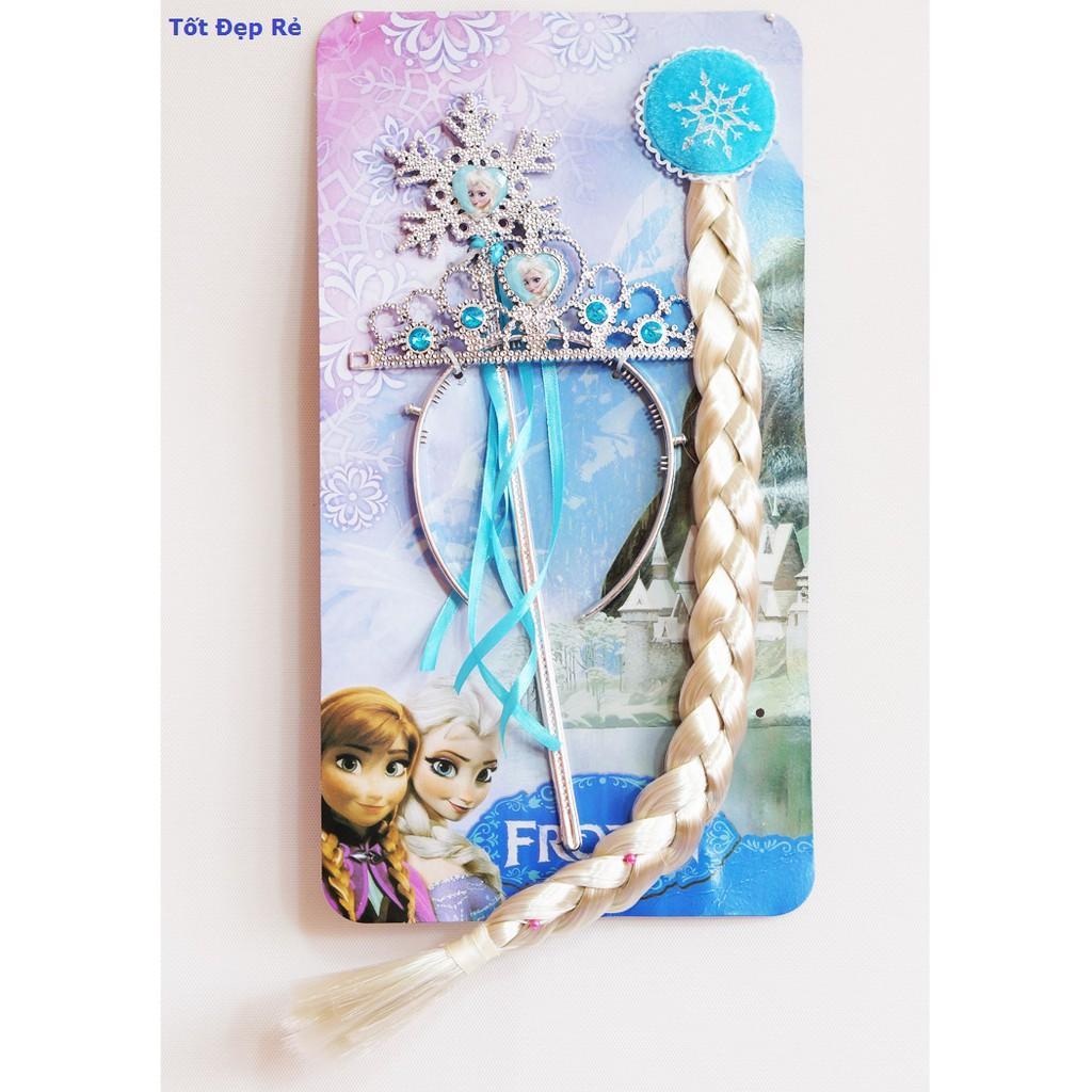 Bộ tóc, vương miện,gậy phép công chúa Elsa - Phim hoạt hình Nữ Hoàng Băng Giá