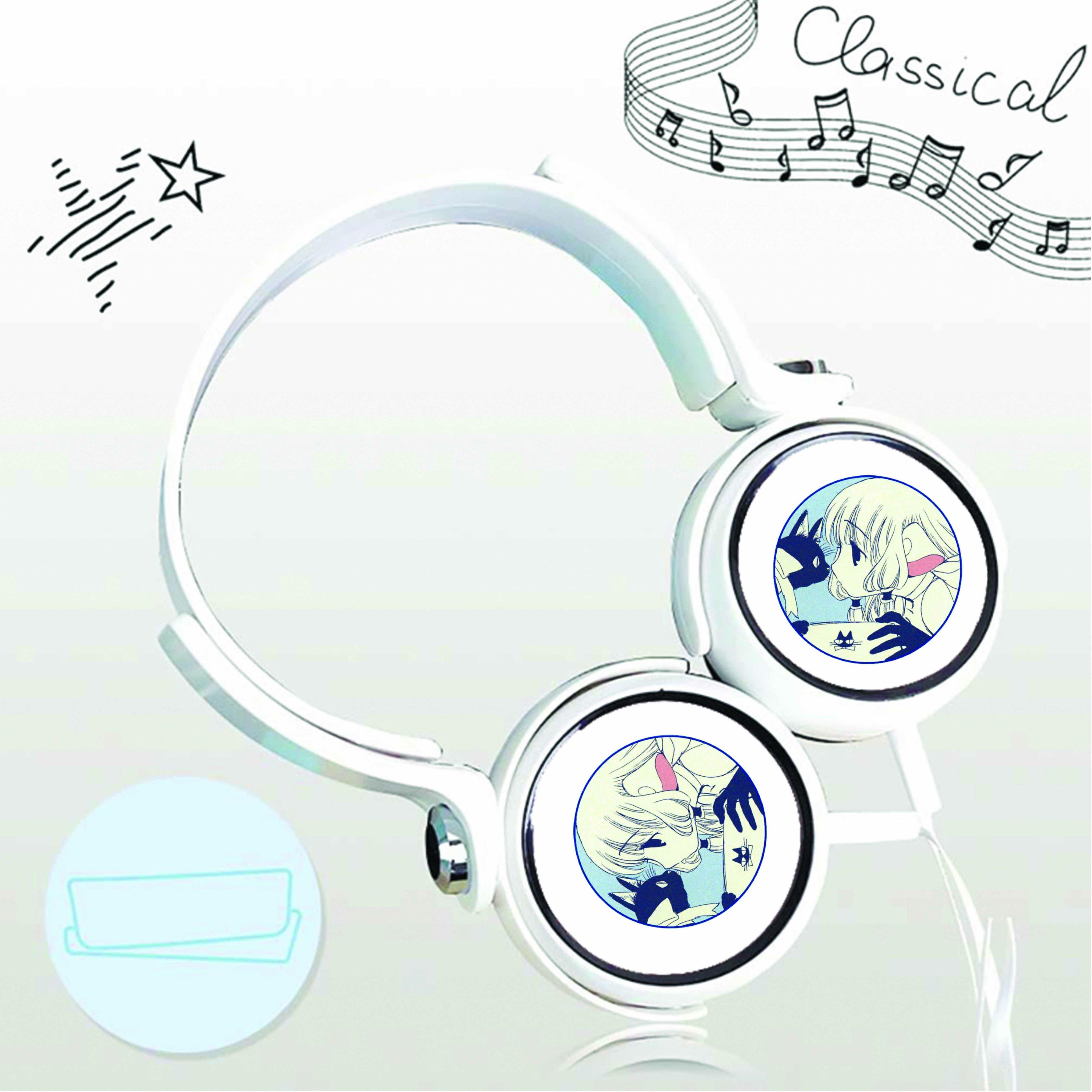 Tai nghe chụp in hình Chobits - Cô Gái Tiên Nữ anime cắm dây có mic