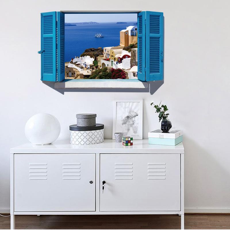 Decal dán tường nguyên miếng cửa sổ màu xanh  Địa Trung Hải SK9059A