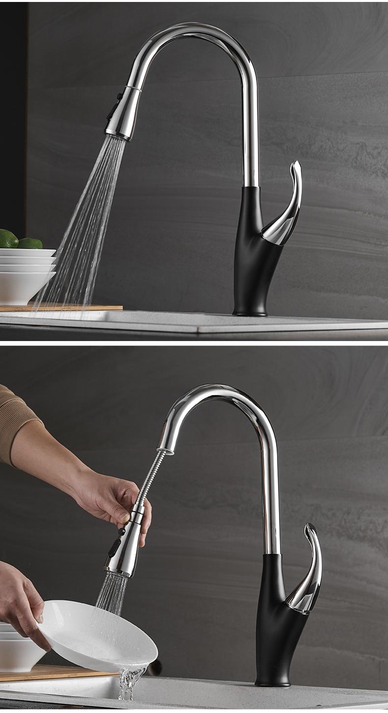 Vòi rửa chén nóng lạnh đồng thau mạ Crom dây rút Navier NV-234