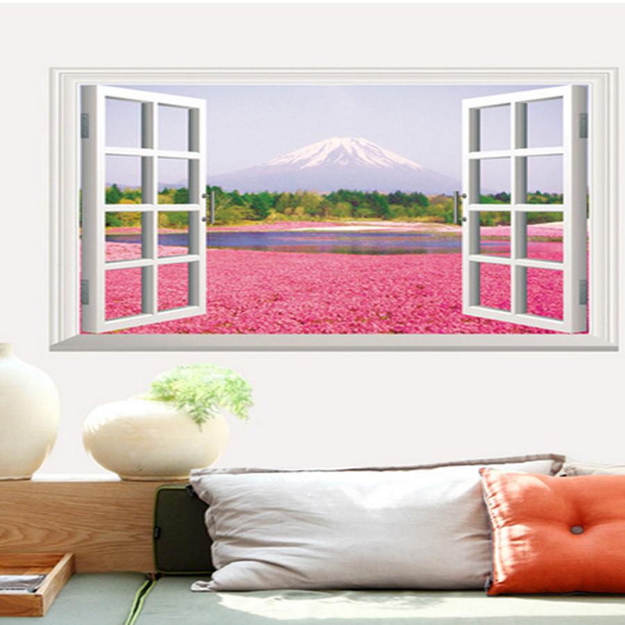 decal dán tường phong cảnh cửa sổ cánh đồng hoa phú sỹ
