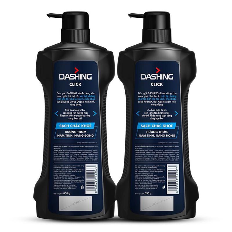 Combo 2 Chai Dầu Gội Cho Tóc Sạch Chắc Khỏe Dành Cho Nam Giới Dashing Click Men Shampoo (650g*2)+Tặng kèm 10 gói dầu gội