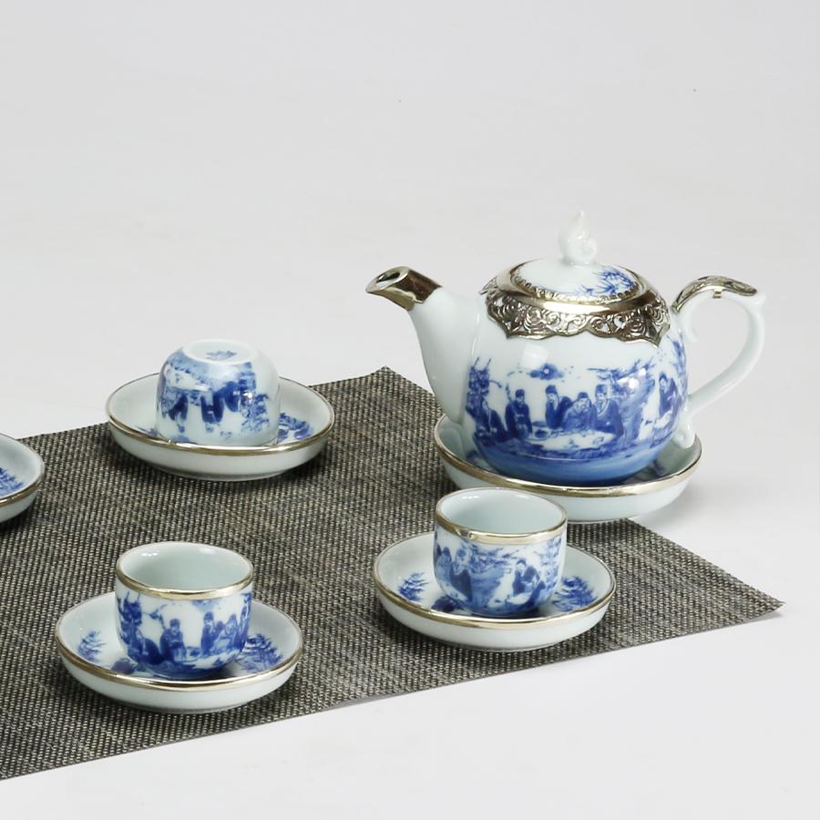 Bộ ấm chén men lam bọc đồng chóp lửa chính hãng gốm sứ Bát Tràng - bình trà, bộ bình uống trà cao cấp