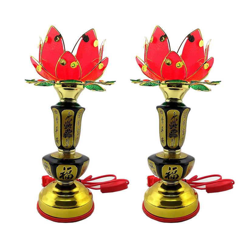 Bộ 2 đèn thờ hoa sen lục giác thân cao 30cm VDT213-10