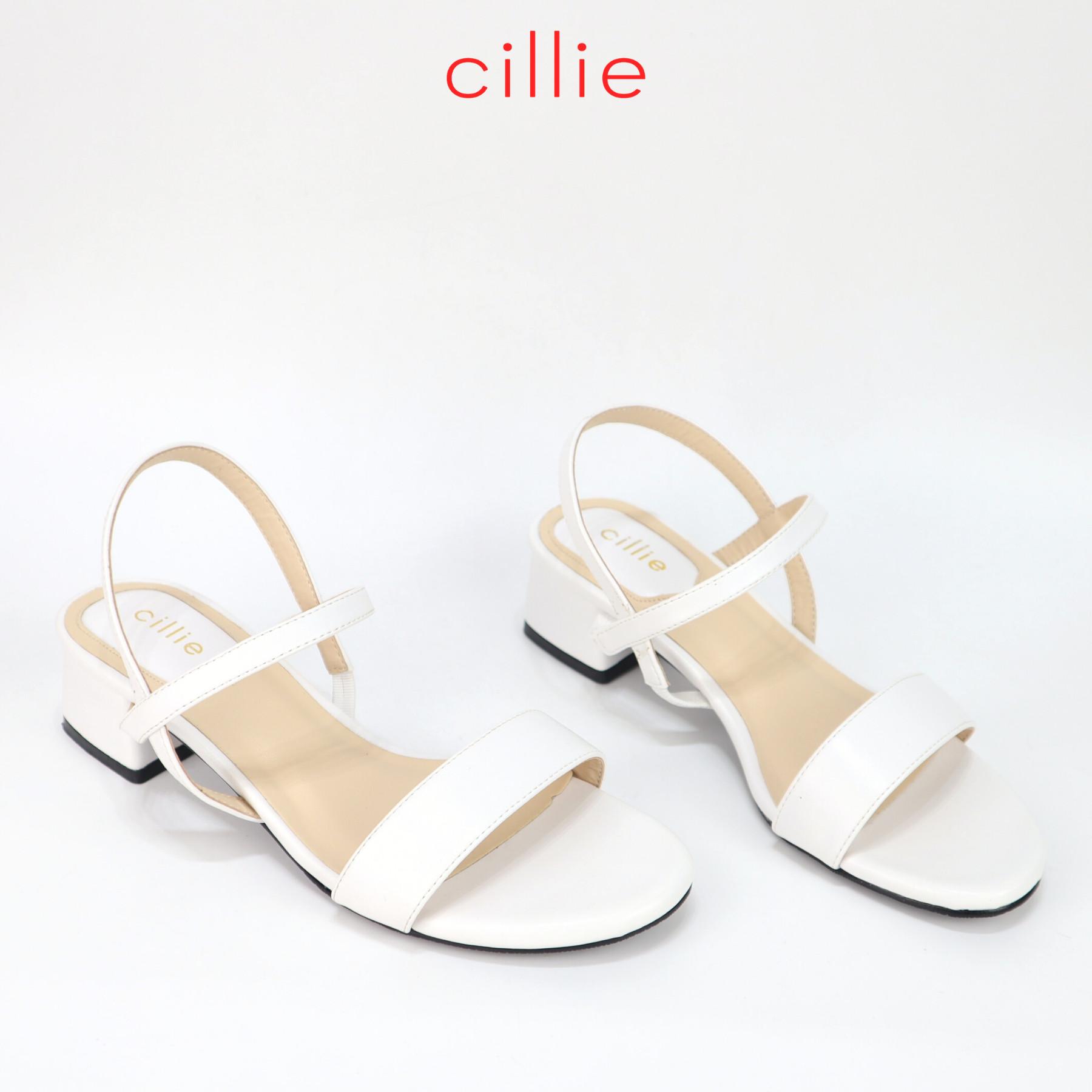 Giày sandal nữ quai ngang gót vuông cao 3cm Cillie 1011