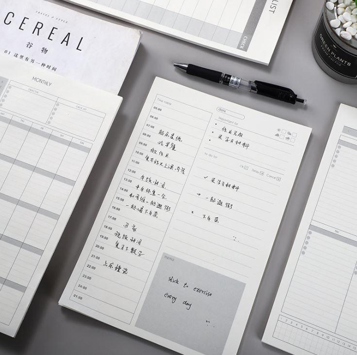 Tập Giấy Note Ghi Chú Kế Hoạch Ngày Tháng - Checklist ( 40 tờ) Size Lớn 18x26.5cm