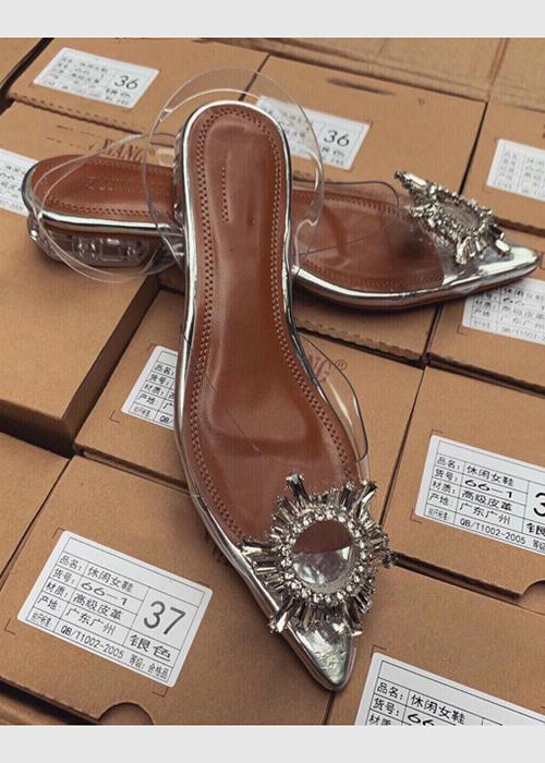 Giày búp bê mika phối đá xinh ngất ngay, đế cao 2 cm MT77