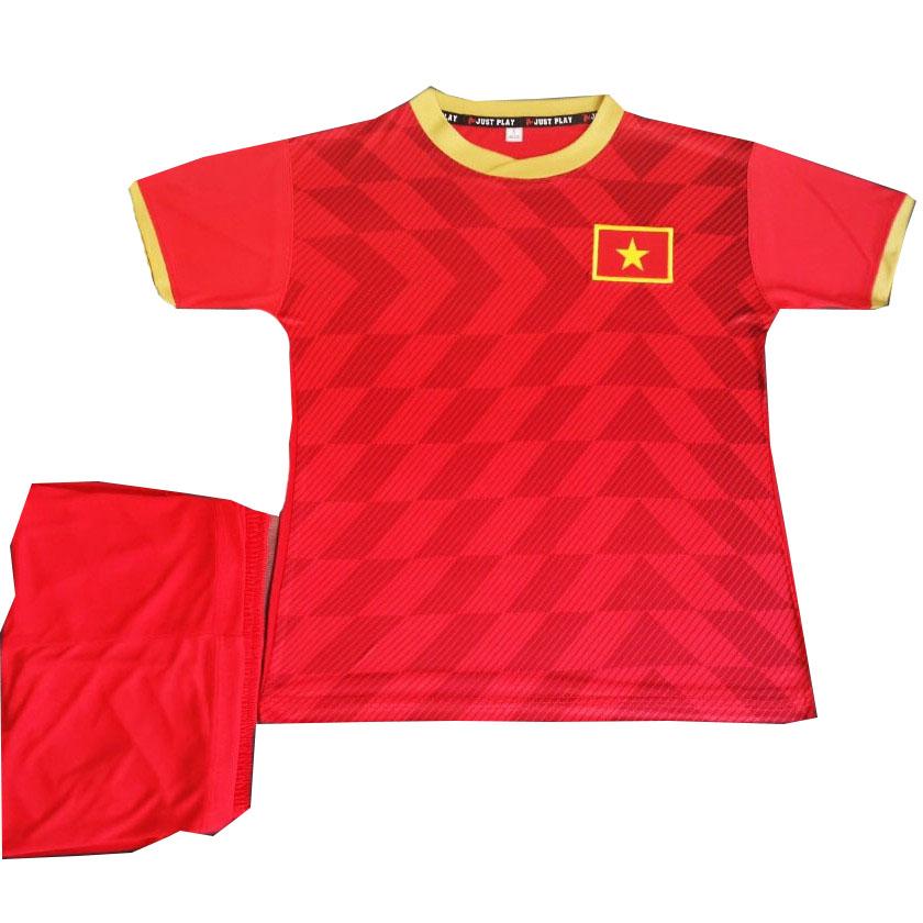 Bộ quần áo đá bóng Đội tuyển Việt Nam - Trẻ em từ 1 đến 15 tuổi - Màu đỏ - Vải thun xịn  - 5