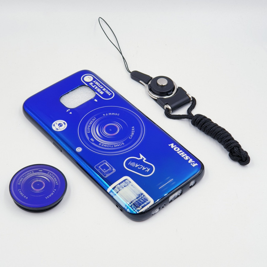 Ốp lưng hình máy ảnh kèm giá đỡ và dây đeo dành cho Samsung Galaxy S7,S7 Edge,S8,S8 Plus,S9,S9 Plus,S10,S10 Plus - Samsung Galaxy S7 Edge - Xanh