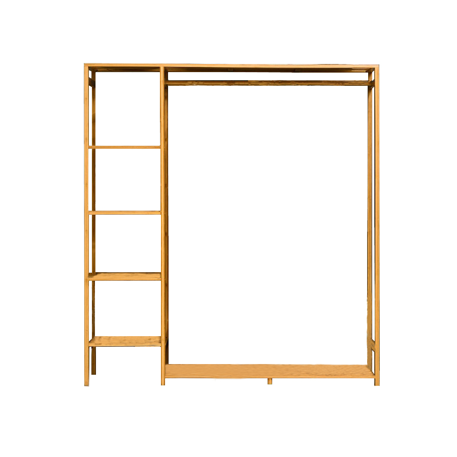 Tủ quần áo trống khung tre (123x30x145cm)