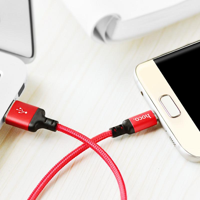 Cáp USB to MicroUSB dây dù X14 chính hãng Hoco 1,2m (màu ngẫu nhiên)