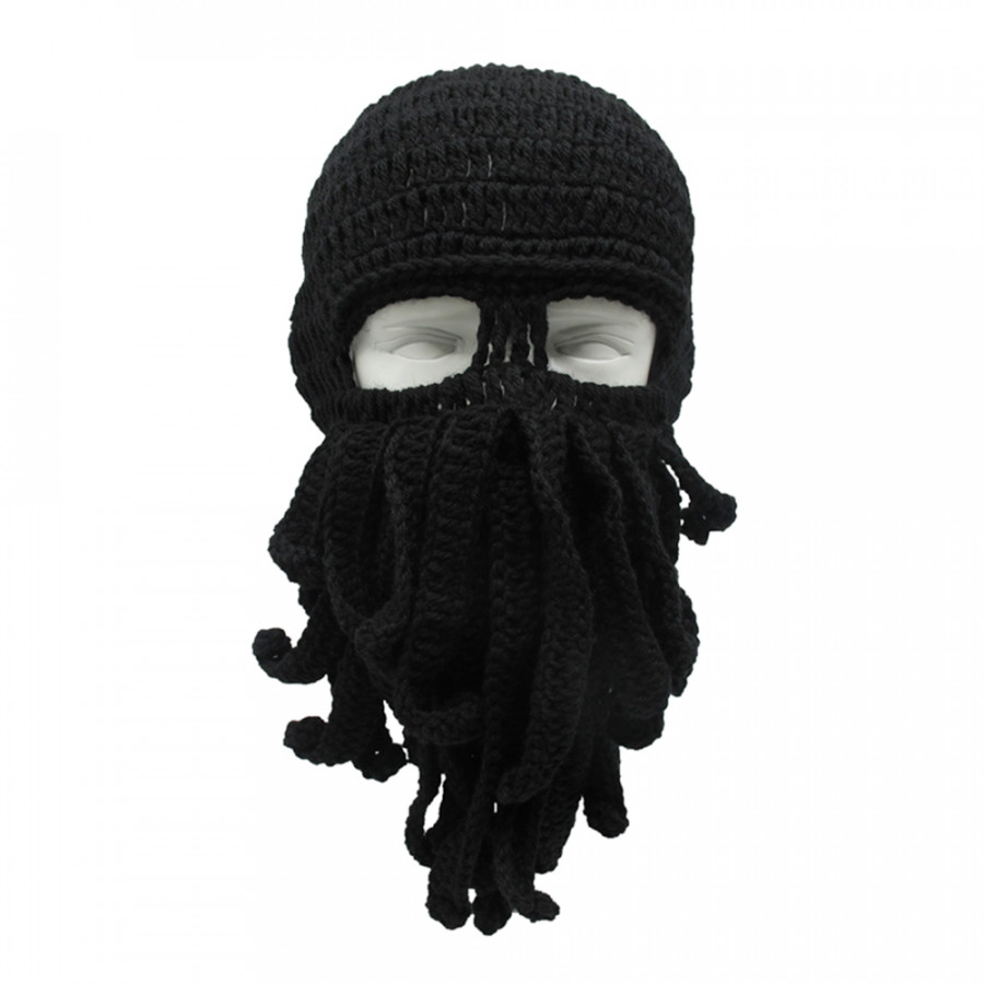 Funny Winter Warm Octopus Mustache Hat Cable Knitted Wool Cap Windproof Skull Ski Caps Cosplay Squid Mask - Black