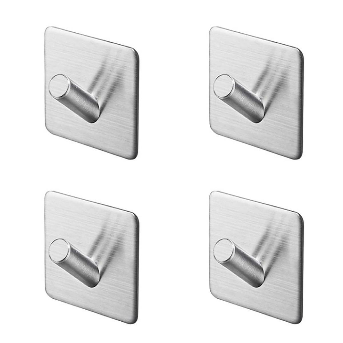 Combo 4 móc treo loại C, Inox 304, SUS304 dùng miếng dính dán tường không cần khoan, xắp xếp treo đồ đạc gọn gàng, tiết kiệm không gian, đồ dùng gia đình, Dan House 311-C4