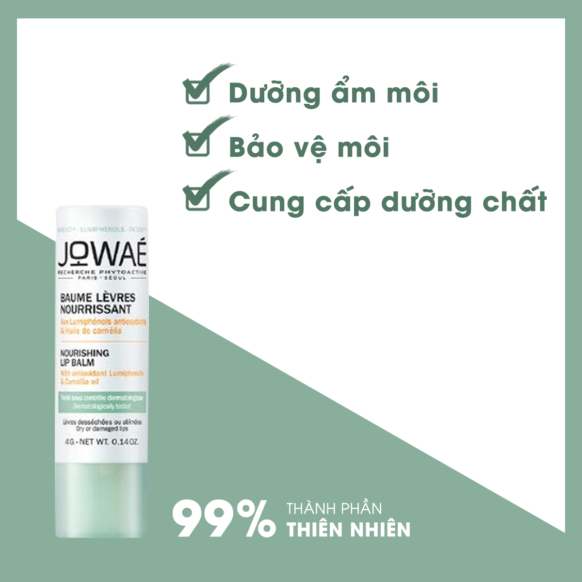 Son dưỡng môi tự nhiên dưỡng ẩm cung cấp dưỡng chất JOWAE Mỹ phẩm thiên nhiên từ Pháp
